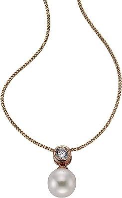 ZEEme Damen Halskette 925 Sterling Silber Muschel Zirkonia