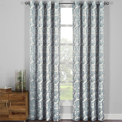 Catalina Gray, Top Grommet Jacquard Window Curtain Panel, Set of 2 Panels, 108x120 Inches Pair, by Royal (Catalina Panel Curtains)