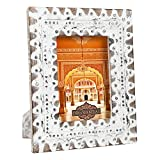 Indian Heritage Wooden Photo Frame 5x7 Mango Wood with Metal Cladding Design in White Distress Finish