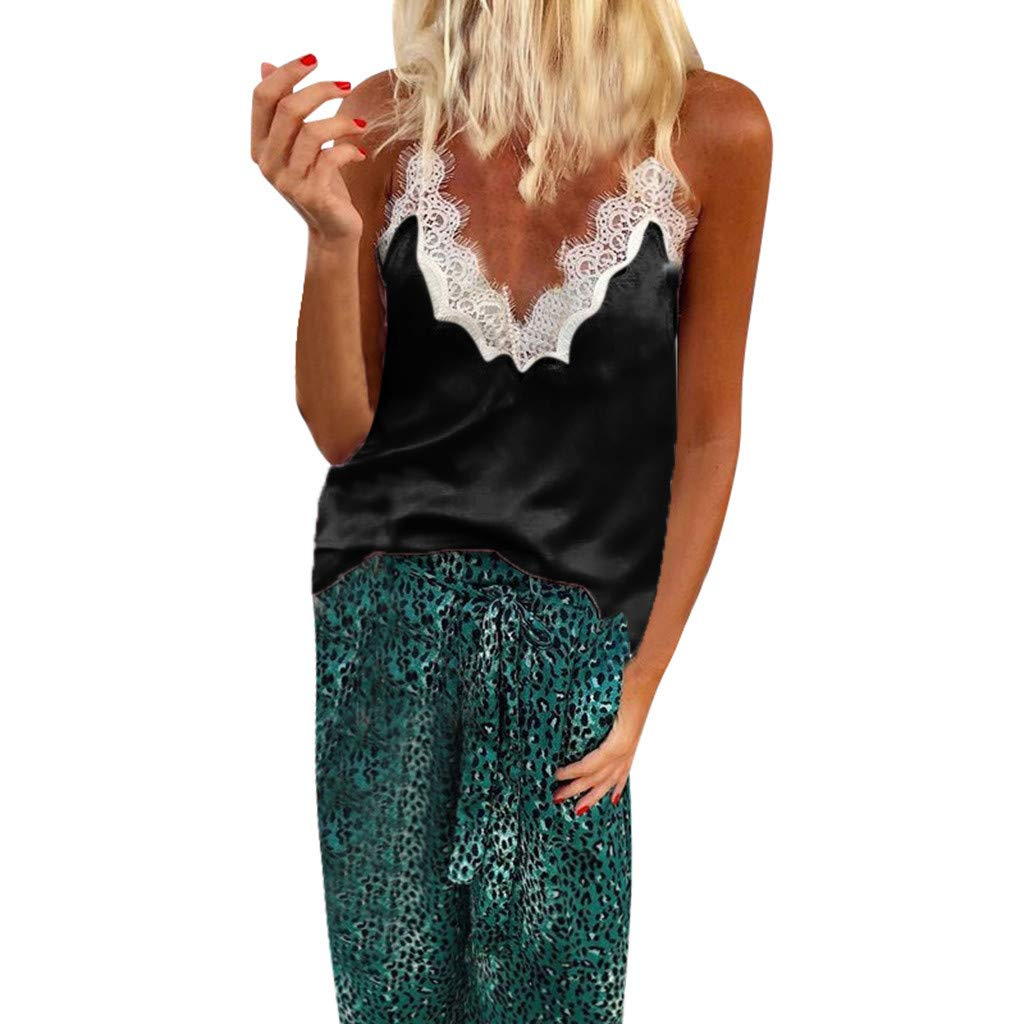 Sexy Women's Silk Tank Top Lace Patchwork Ladies Camisole Silky Loose Sleeveless Blouse Tank Shirt with Soft Satin Black
