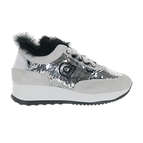 AGILE BY RUCOLINE Scarpe Donna Sneaker CAMOSCIO Paillettes Silver Tex Soft  1304 N° 35 fe958e0cfbb