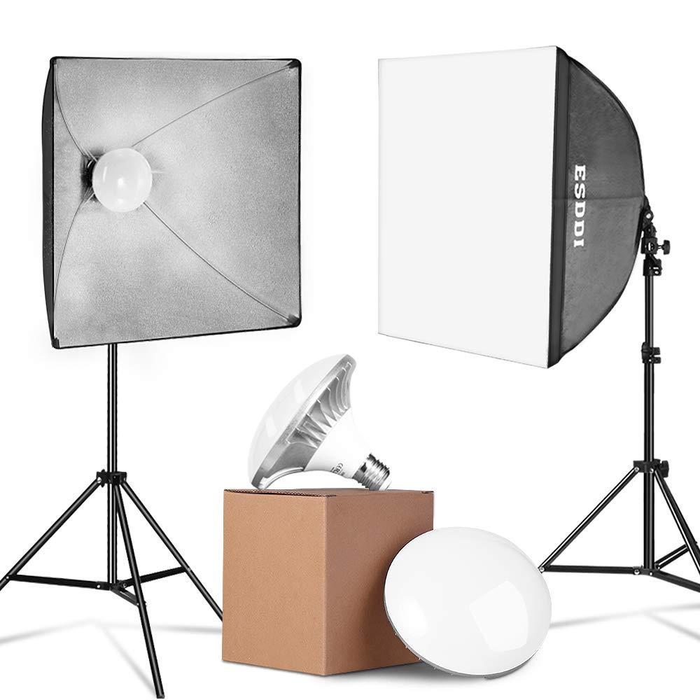 ESDDI Update 900W LED Photography Softbox Lighting Kit 20x20 Inch Photo Studio Equipment with E27 Socket and 2x5500K Instant Brightness Energy Saving Lighting Bulbs by ESDDI