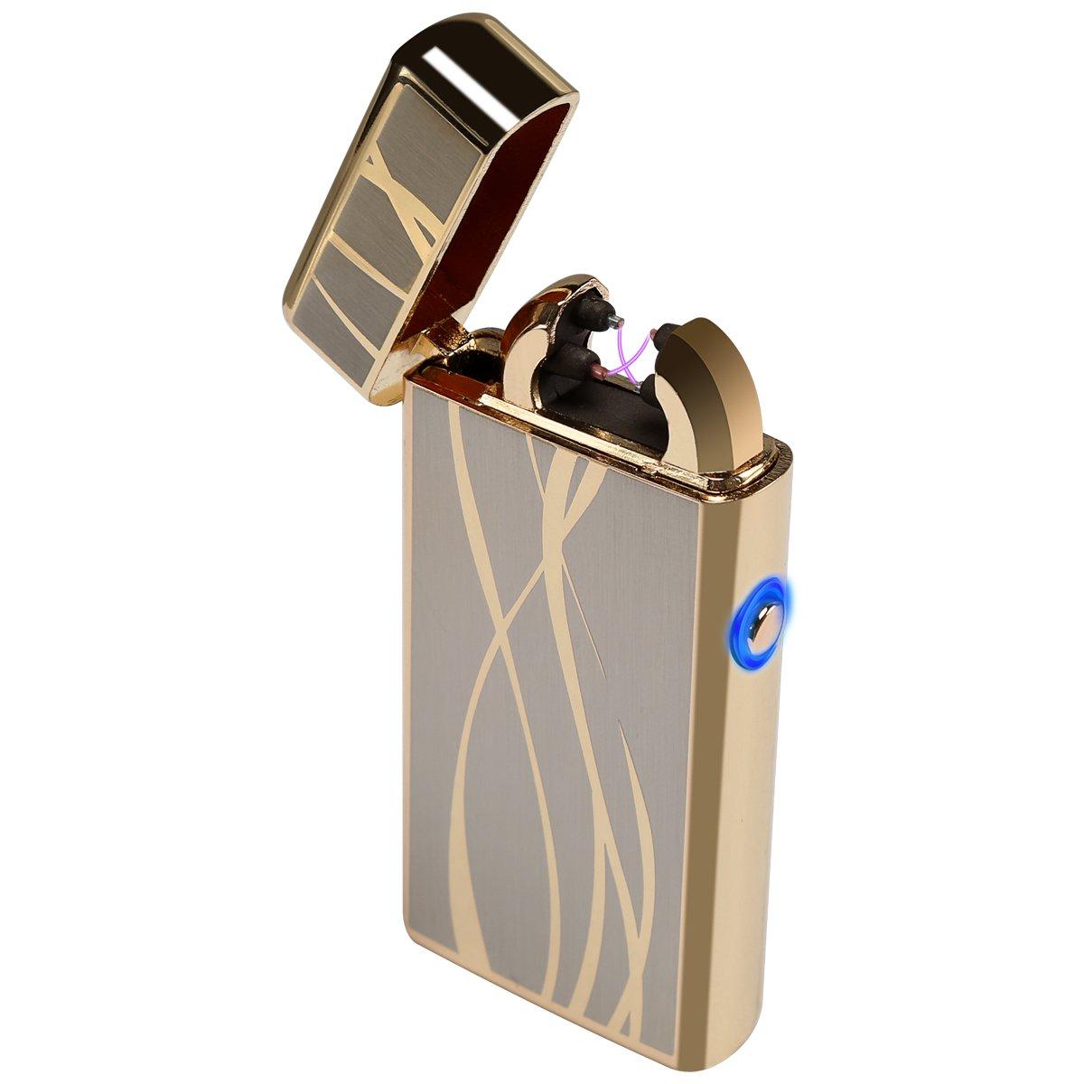 Kivors Briquet Rechargeable USB Classique Double Arc Electrique Briquet sans Flamme Anti Vent (Argent)