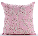 "Designer Pink Pillow Shams, Multicolor Lace Sea Creatures Ocean & Beach Theme Pillow Shams, 24""x24"" Pillow Shams, Square Cotton Linen Shams, Art Deco Pillow Shams - Coral Island"
