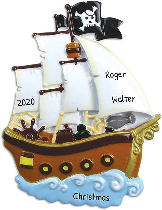 Caribbean Christmas 2020 Amazon.com: Personalized Pirate Ship Christmas Tree Ornament 2020