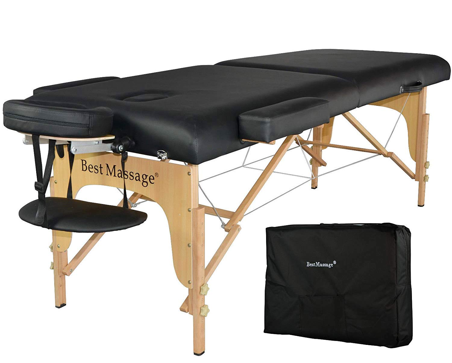 Massage Table Portable Massage Bed Spa Bed 77 Long 28 Wide Heigh Adjustable 2 Fold 3 Thick Density Sponge PU Portable Massage Table Bed w Carry Case Facial Cradle Salon Tattoo Bed