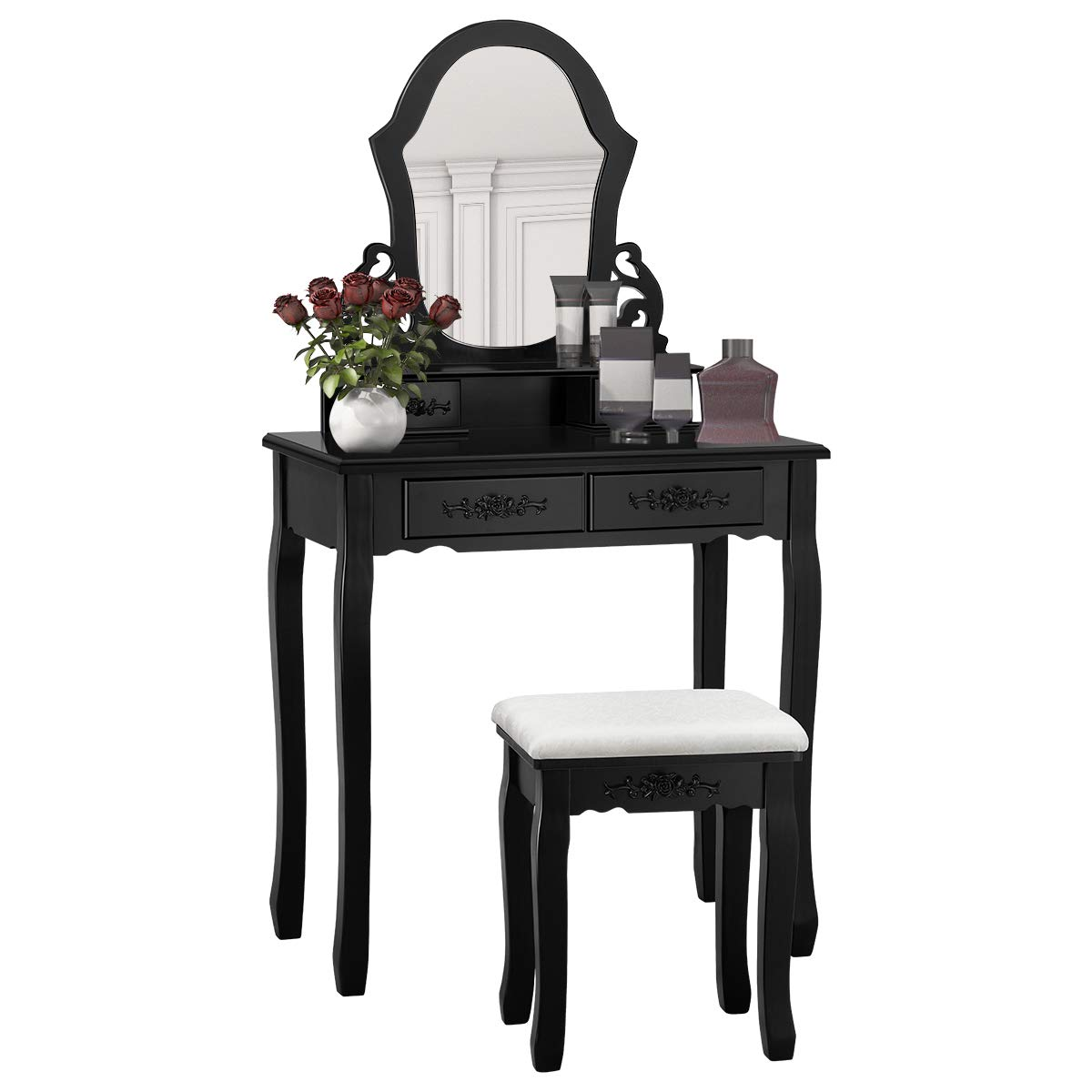 Giantex Vanity Wood Makeup Dressing Table Stool Set Bedroom with Mirror (Black, 20.0' Lx12.0 Wx53.5 H) 20.0 Lx12.0 Wx53.5 H) HW52951BK