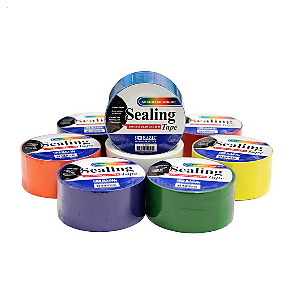 8 Colored Sealing Tape Set - 1.88'' x 164'' Feet/Roll - Including Black, White, Orange, Green, Purple, Red and Blue Roll of Tape - for Crafts, Packing and More