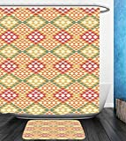 Beshowereb Bath Suit: Showercurtain Bathrug Bathtowel Handtowel Native American Decor Collection Colorful Geometric Ethnic Aztec Patterns South Mexican Traditional Folk Art Print Multi