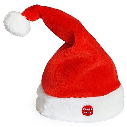 Cappello di Babbo Natale musicale che balla e canta  Amazon.it  Casa ... 60fdd7d75558
