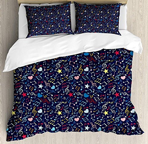 Music Comforter Set Hearts Notes Stars Melodic Inspiration Musical Lifestyle Rhythm in My Heart Design Bedding Duvet Cover Sets For Boys Girls Bedroom,Zipper Closure,4 Piece,Multicolor Twin Size by Our Wings