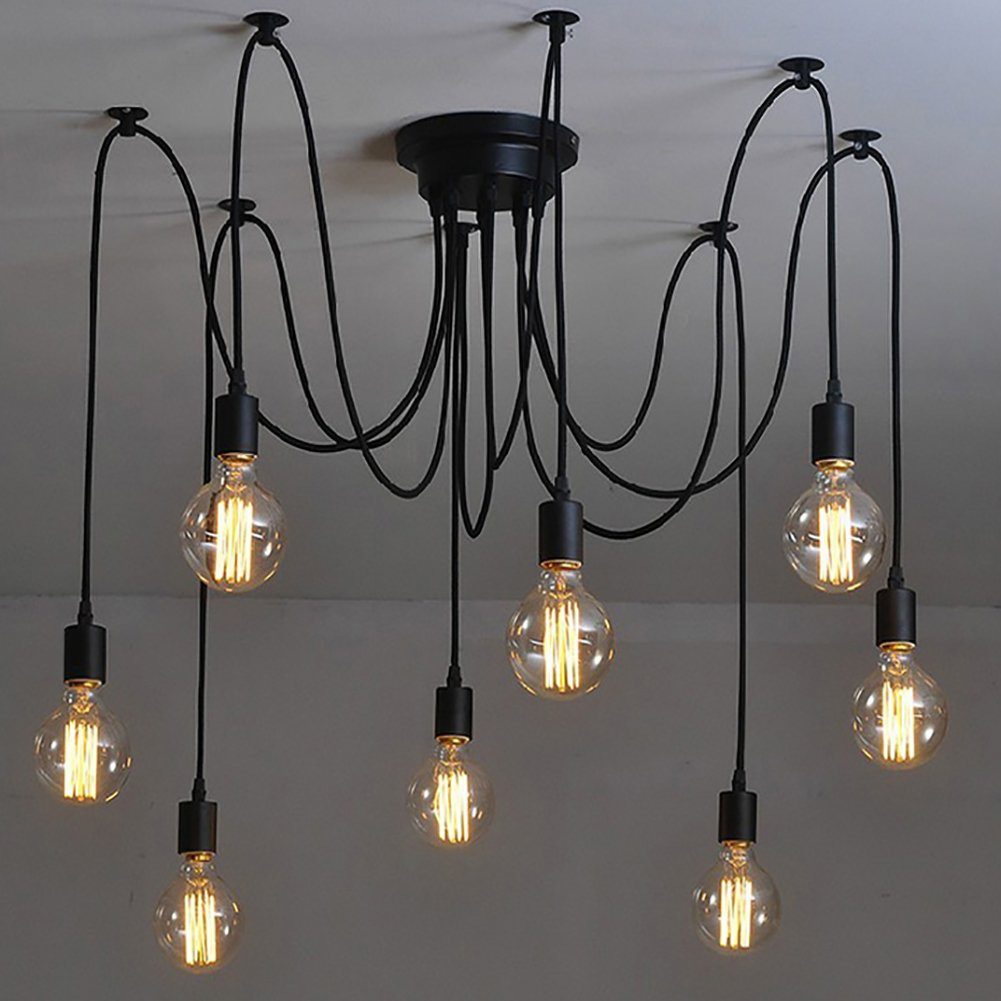 Black Industrial Light Part - 39: NAVIMC Black Vintage Industrial Pendant Light Fixtures Home Ceiling Light  Chandeliers Lighting, Edsion Style (8 Lampholders) - - Amazon.com