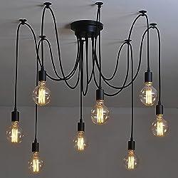 NAVIMC Black Vintage Industrial Pendant Light Fixtures Spider Pendant Lighting,Edsion 8 Heads Ceiling Chandelier Light