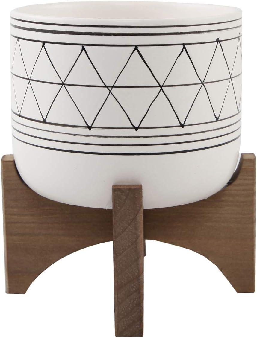 "Flora Bunda 5"" White Black Ceramic Geometric W/Wood Stand Planter Mid Century"