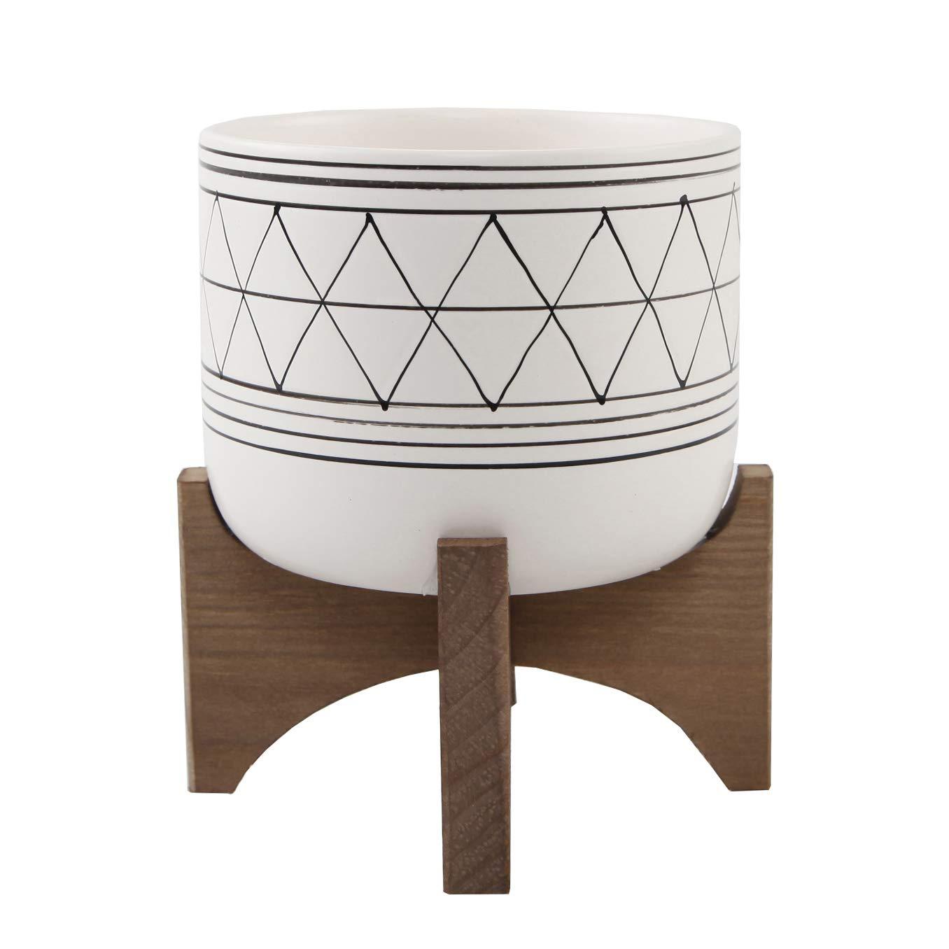 Flora Bunda 5 White Black Ceramic Geometric W Wood Stand Planter Mid Century