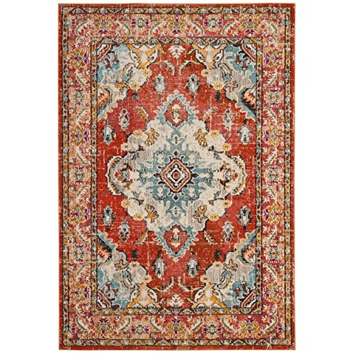 Persian Rug (Safavieh Monaco Collection MNC243H Vintage Oriental Orange and Light Blue Distressed Area Rug (2'2