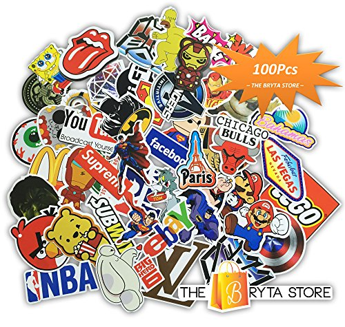 The Bryta Store 100 PREMIUM Stickers Decals Vinyls | Pack of The Best Selling Cool Sticker | Perfect To Graffiti Your Laptop, Macbook, Skateboard, Luggage, Car, Bumper, Bike, Hard Hat