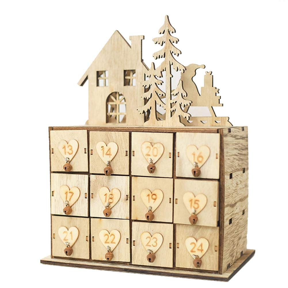 LianLe Christmas Wooden Advent Calendar Model Storage Box with 24 Drawers to Xmas Decorate