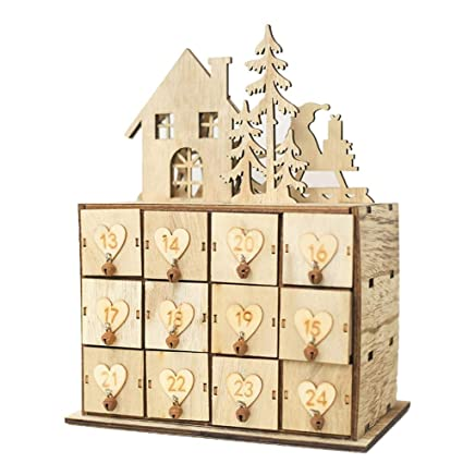 Christmas Calendar Storage Box,Innovative Wooden Shoe Boxes/Drawer, Decoration Ornament Sundries Storage