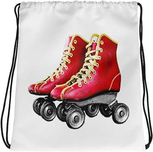 Amazon Com Red Leather Roller Skates Drawstring Bag Retro Vintage Rollerskates Skating Cinch Sack Backpack Tiny Giant Shoes