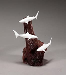 Shark Trio Miniature Sculpture by John Perry 3 in long Pellucida Statue on Burl-wood