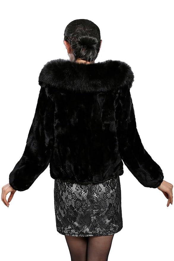 queeshiny Mujeres Piel de Conejo Rex - Chaqueta Abrigo con Cuello de Piel de Zorro Noir 1 40: Amazon.es: Ropa y accesorios