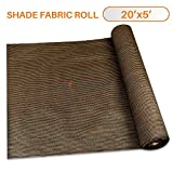 Sunshades Depot 20' x 5' Shade Cloth 180 GSM HDPE Brown Fabric Roll Up to 95% Blockage UV Resistant Mesh Net
