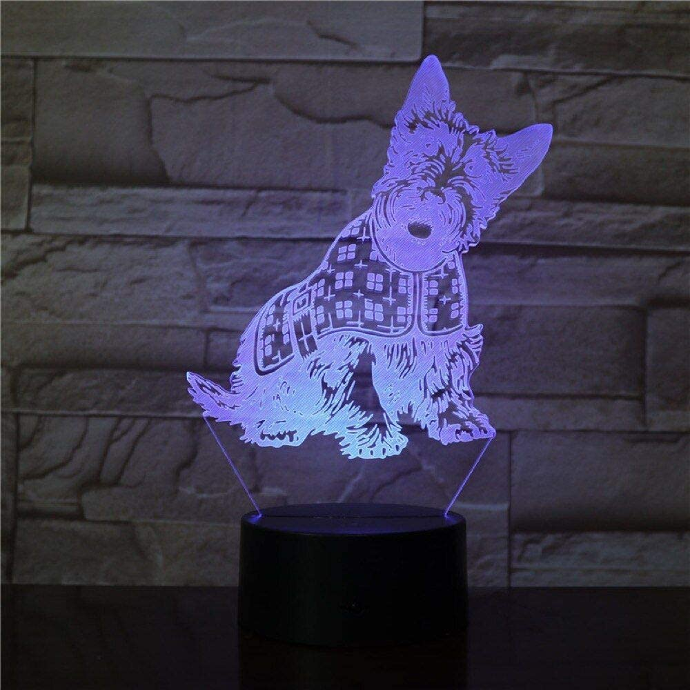KALINDA MODI 3D Night Light for Kids, 3D Illusion Lamp Different 3 Pattern and 7 Color Change Decor Lamp with Touch Control for Best Birthday for Girls Boys – Cute Dog Lamp Beauty Lamp