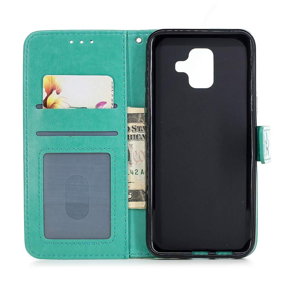 Ananas Design Flip Wallet Protective Case Coque Samsung Galaxy A6 2018 Housse en Cuir LaVibe Portefeuille /Étui /à Rabat Clapet Support Fermeture Magn/étique Porte Video Stand Or Rose