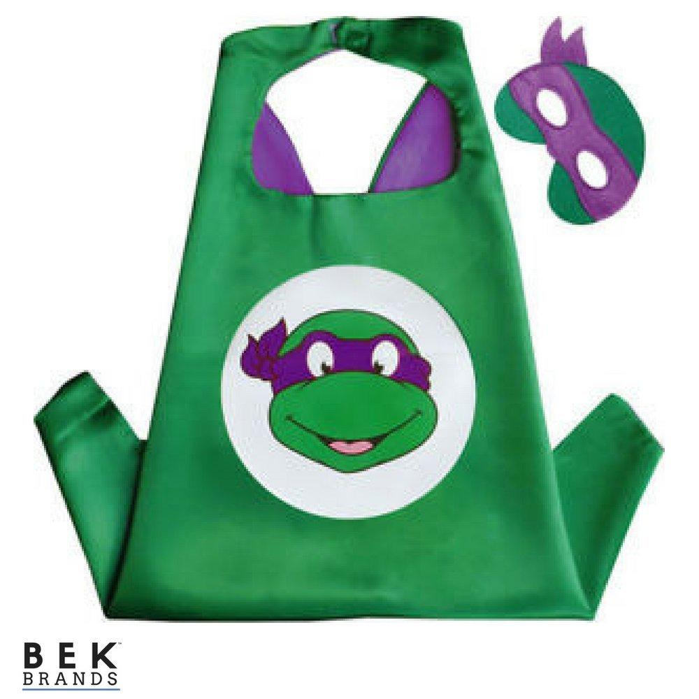Bek Brands Teenage Mutant Ninja Turtles Donatello Superhero Cape and Mask Set | Dress up Satin Cape and Felt Mask
