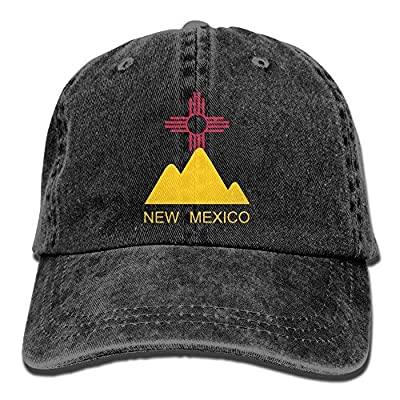 SARA NELL Unisex Adult New Mexico Flag Mountain Vintage Adjustable Baseball Cap Denim Dad Hat