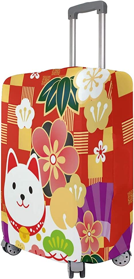 FOLPPLY Japanese Style Red Flower Pattern Luggage Cover Baggage Suitcase Travel Protector Fit for 18-32 Inch