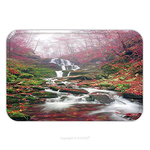 Flannel Microfiber Non-slip Rubber Backing Soft Absorbent Doormat Mat Rug Carpet Famous Alpine Beautiful Waterfall Borzhava Under The Mountain Village Pylypets Ski Resort Cold 361388951 for (Kilim Village)