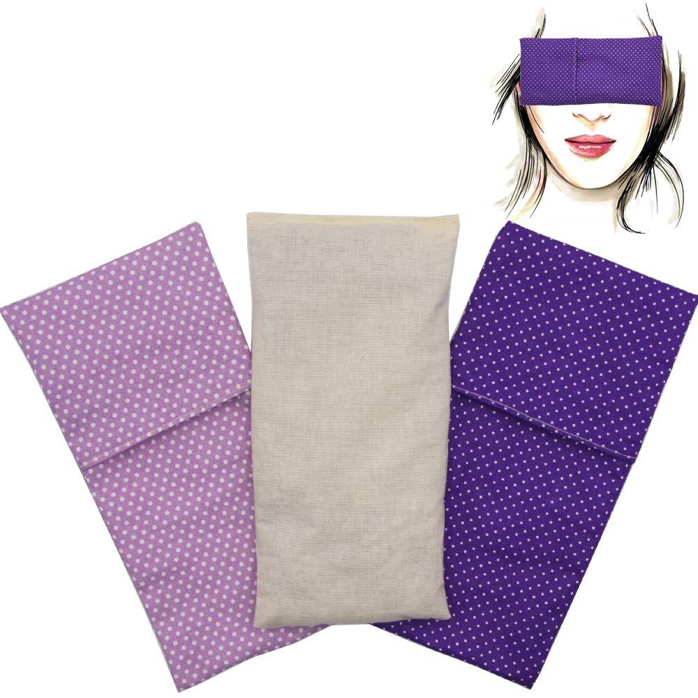 | Semillas de Lavanda y semillas de arroz Almohada para los ojosPack Duo Topos Lila Yoga Meditaci/ón Relajaci/ón 1 relleno y 2 fundas lavables descanso de ojos.