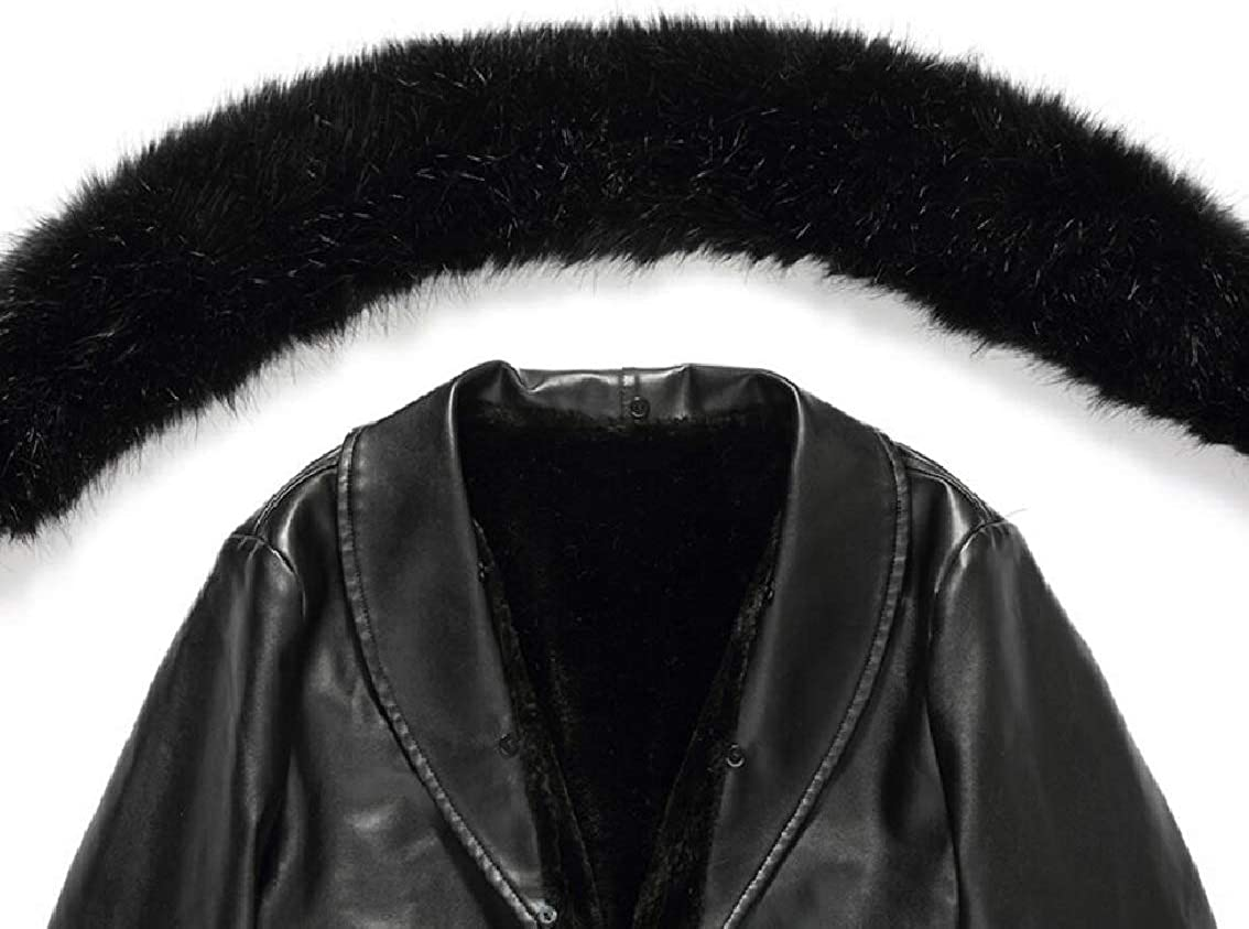 Mens Fleece Faux-Fur Collar Faux-Leather PU Thicken Mid Long Jackets