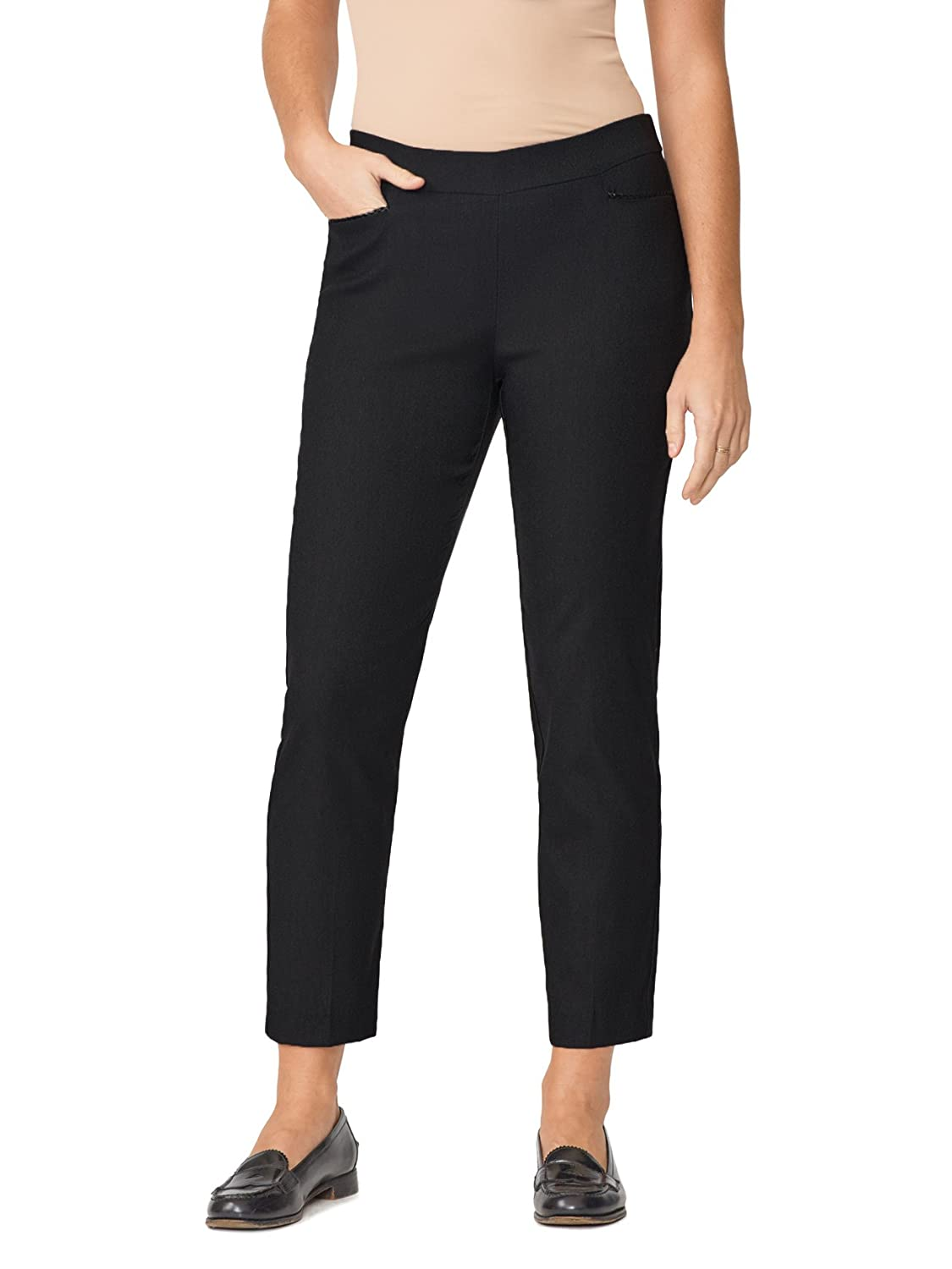 89th&Madison Woven Leather Trim Tapered Ankle Pants