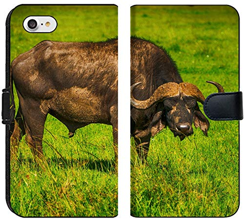 Apple iPhone 7 and iPhone 8 Flip Fabric Wallet Case Male Cape Buffalos Standing in Short Grass Image 34700099 Customized Tablemats Stain Re ()