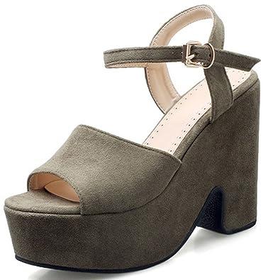 d83f4e1750ea Sfnld Women s Classic Peep Toe Platform Chunky High Heels Sandals Green 4  B(M)