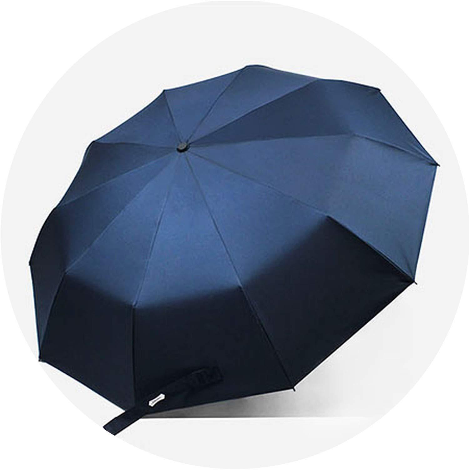 Strong Windproof Rain Umbrellas Anti UV Automatic Folding Umbrella Men Women 10K Sun Protection Wooden Handle Paraguas,Navy