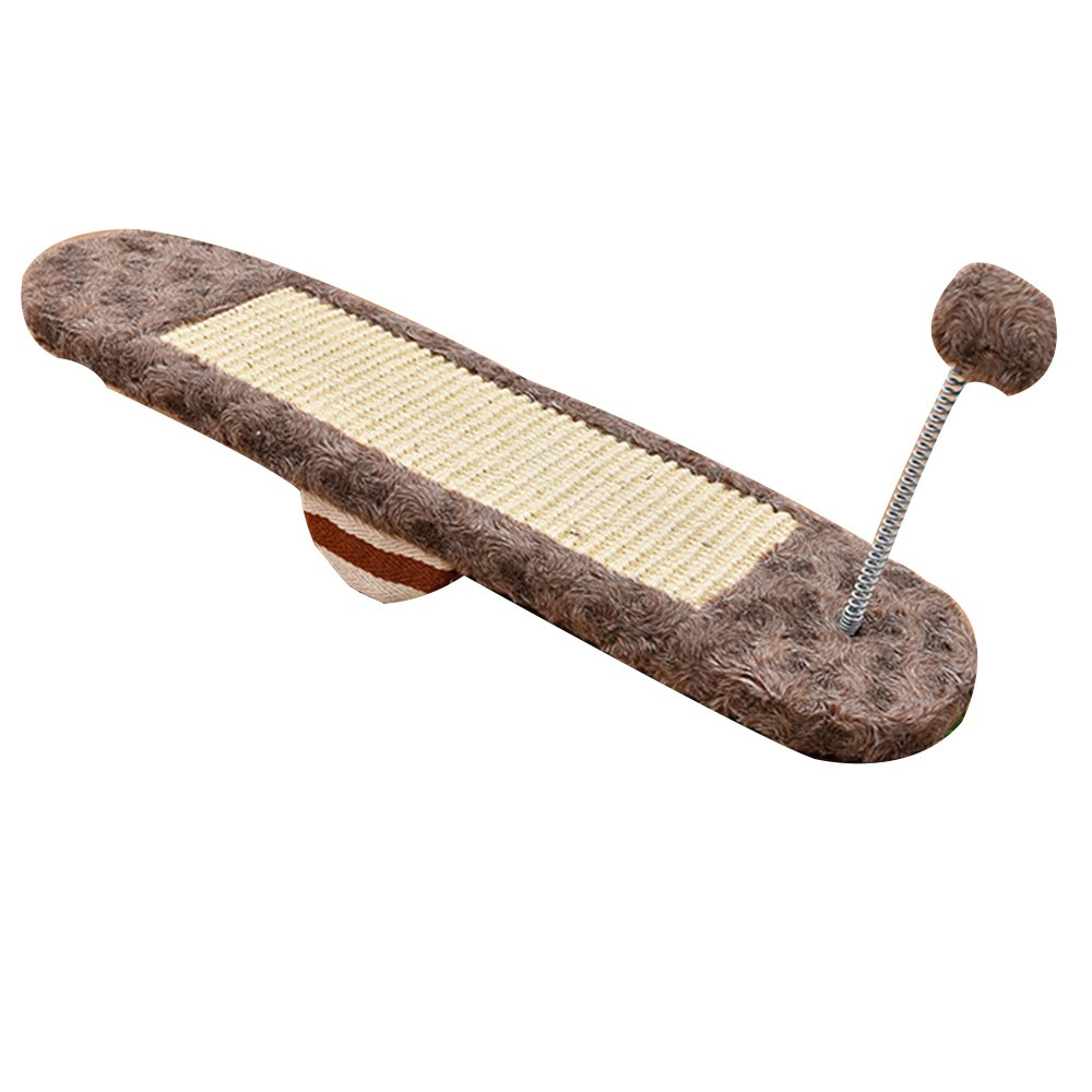 Aqi7 Pet Cat Toy, Seesaw Cat Scratch Board Sisal Claw Claw Cat Climbing Board,Brown