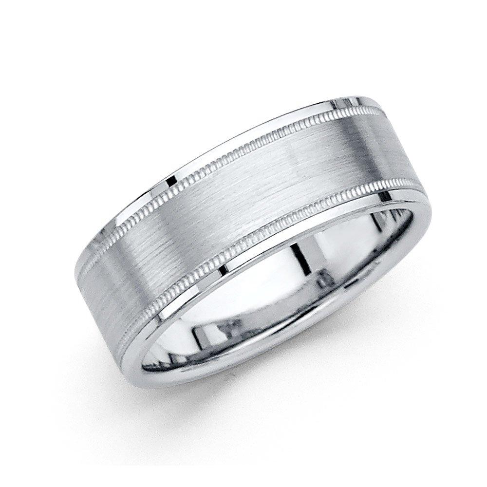 Wedding Band Solid 14k White Gold Ring Milgrain Border Brushed Finish Polished Style Mens 8 mm Size 11