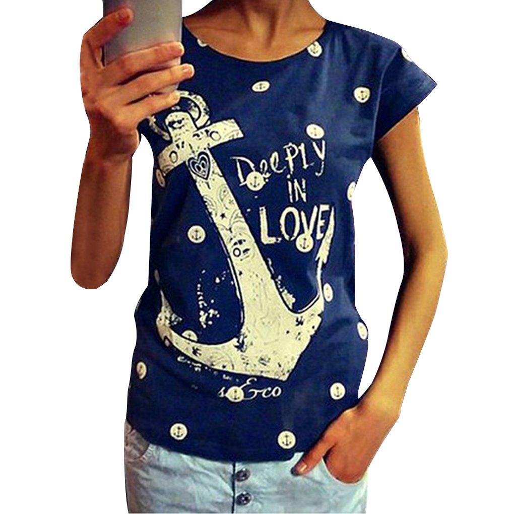 QHGstore T shirt Plus Size Lettera Casual Stampa di ancoraggio Top cotone manica corta T shirt