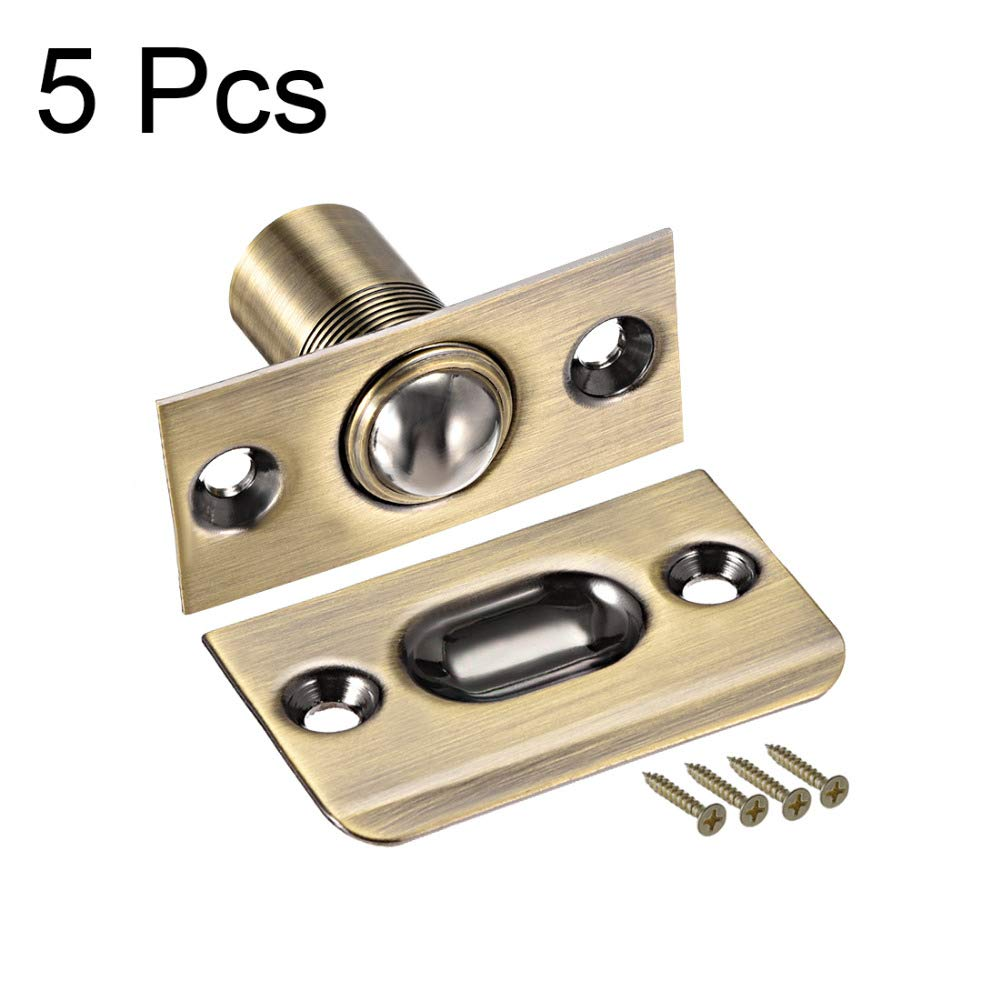 5pcs Large Ball Catch Door Lock Replacement Parts for Cabinet Closet Door 54mm Length Adjustable New Arrival - (Color: Copper Tone)