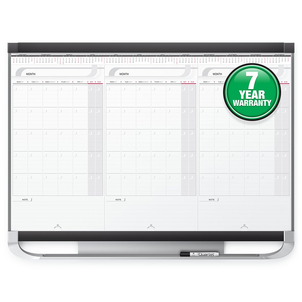Quartet Prestige 2 Sliding Three Month Calendar Board, 3 x 2 Feet, Total Erase Surface (CMP32P2)