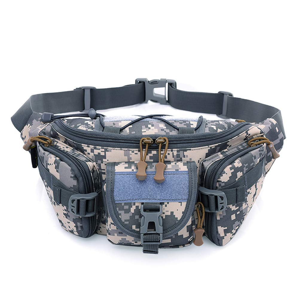 Outdoor Army Waist Bag, TechCode Camouflage Tactical Waist Pack Military Fanny Pack Portable Military Assault Bag Gadget Tool Organizer for Outdoor Running Riding Camping Sports Walking -A06