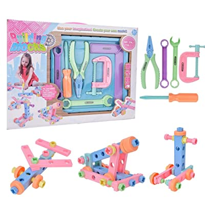 Tnfeeon Screw Toy Kids Drill Set, DIY Screw Puzzle Learning Toys Early Educational Pretend Play Toy Birthday for Child Kids(108-5 ): Toys & Games