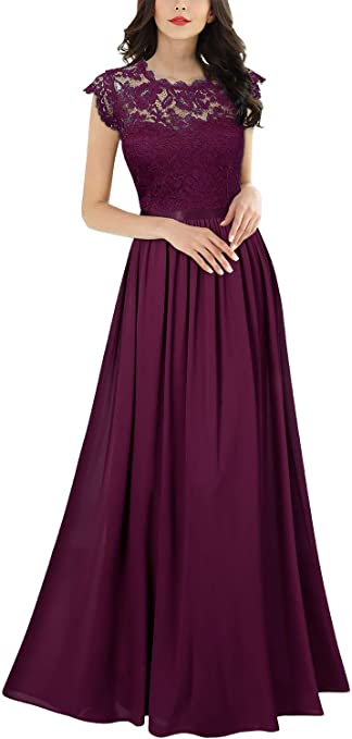 Women's Formal Floral Lace Evening Party Maxi Dress