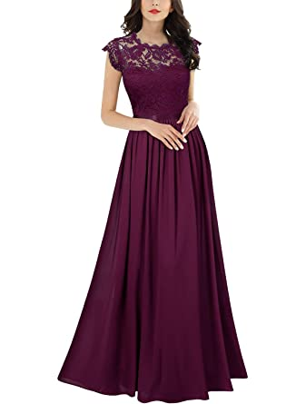 9a9338c42ffab3 Miusol Women's Formal Floral Lace Evening Party Maxi Dress (Small, Magenta)