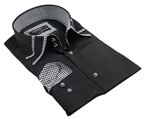 d1dfe9902320 Image Unavailable. Image not available for. Colour: Mens Italian Design Double  Collar Black White Shirt Slim ...
