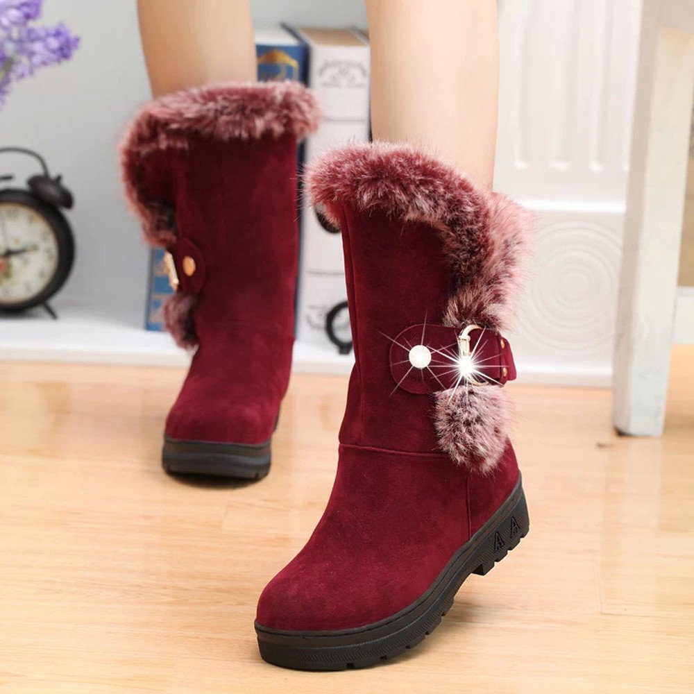 Amazon.com: GoodLock Women Fashion Faux Fur Snow Boots Ladies Winter Slip-On Soft Round Toe Flat Winter Ankle Boots Booties Shoes: Clothing